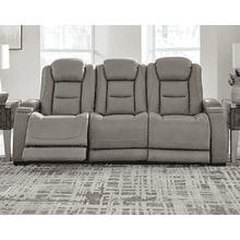 The Man-Den Power Reclining Sofa with Lumbar & Headrest