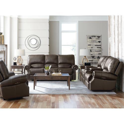 Prescott Espresso Leather Power Reclining Sofa with Power Tilt Headrests