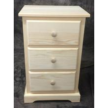Maine Made Traditional 3 Drawer Nightstand Narrow Pine Unfinished