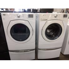 Refurbished White Whirlpool DuetWhite Front Load Washer Dryer Set On Pedestals Please call store if you would like additional pictures. This set carries our 6 month warranty, MANUFACTURER WARRANTY AND REBATES ARE NOT VALID (Sold only as a set)