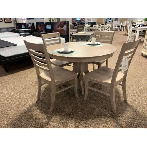 Round Sienna Pedestal Table with Roma Chair in Taupe Grey