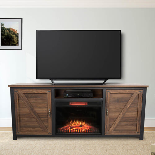"""See Details - Portland 73"""" TV Stand with Fireplace - Antique Walnut"""