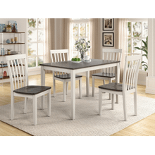 View Product - Brody - 5 pcs Dining Set White/Grey