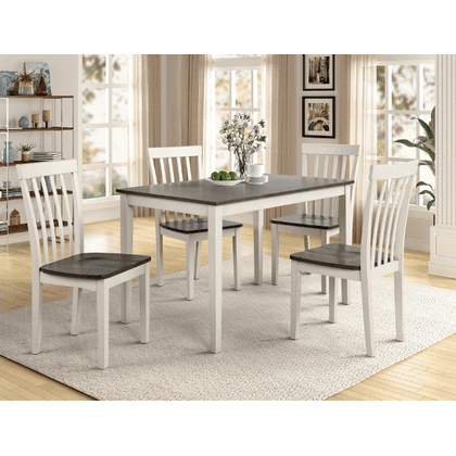 See Details - Brody - 5 pcs Dining Set White/Grey
