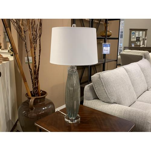 Tall Mercury Glass Table Lamp with White Shade
