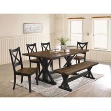 See Details - UNITED 5015-72-52-51 Lexington Rustic 6-Piece Dinette - Table, 4 Chairs  & Bench