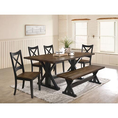 Simmons Upholstery - UNITED 5015-72-52-51 Lexington Rustic 6-Piece Dinette - Table, 4 Chairs  & Bench