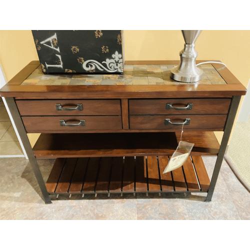 Null Furniture Inc - Slate top Cherry Sofa/Media Console w/antique Bronze legs      (3013-09,52931)