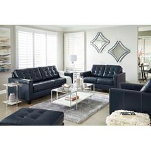 ALTONBURY - BLUE LEATHER SOFA & LOVE SEAT