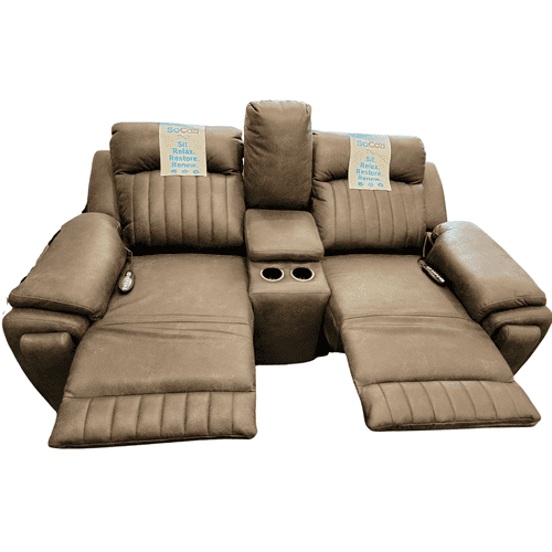 Southern Motion - Power Headrest Reclining Loveseat w/ Heat, Lumbar & Massage- Pasadena Granite