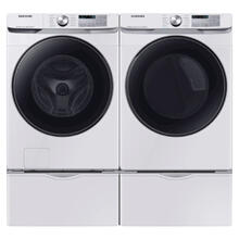SAMSUNG Super Speed 5.0 Cu.Ft. Front Load Washer & 7.5 Cu.Ft. Electric Dryer with Pedestals - White