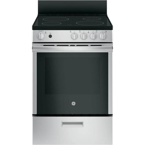 "GE 24"" Stainless Steel Freestanding Range with Steam Clean"