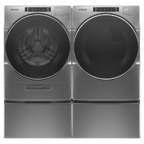 WHIRLPOOL Load & Go XL Dispenser 5.0 Cu.Ft. Front Load Washer & 7.4 Cu.Ft. Electric Dryer with Pedestals - Chrome Shadow