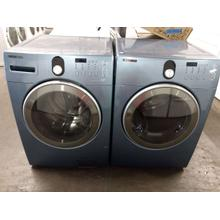 Refurbished Blue Samsung Front Load Washer Dryer Set  Please call store if you would like additional pictures. This set carries our 6 month warranty, MANUFACTURER WARRANTY AND REBATES ARE NOT VALID (Sold only as a set)