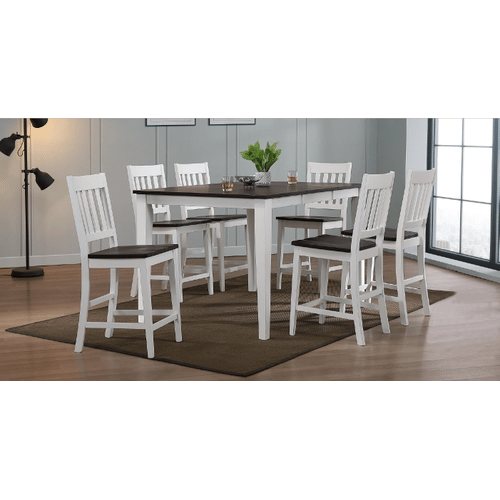 A 5 piece, table and 4 chairs, two tone hardwood pub height dining set;