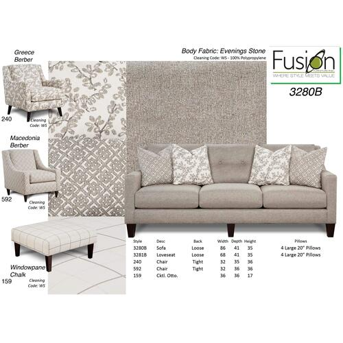 Sofa | Stone Grey & White Brown Accents