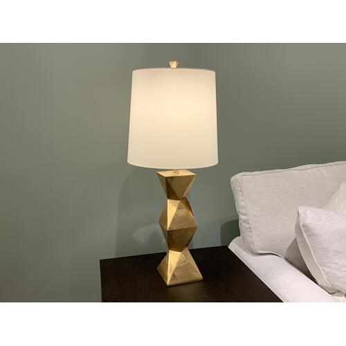 Gold Geometric Table Lamp with White Shade