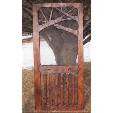 Unique handmade rustic wooden screen door.