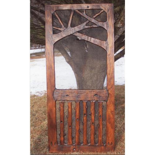Kurt's Custom Carving - Unique handmade rustic wooden screen door.