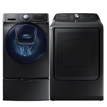 SAMSUNG 5.0 cu. ft. AddWash Front Load Washer & 7.4 cu. ft. Electric Dryer with Steam Sanitize  in Black Stainless Steel- Open Box