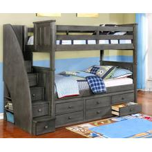 See Details - Twin-Twin Jordan Staircase Bunk Bed Weathered Grey