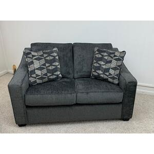 Stanton 496 Loveseat in Lux Dark Grey with Denali Pewter and Espresso Leg . 100% Polyester . CC:  WS 61L x 37H x 39D