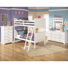 Lulu - White - 7 Pc. - Dresser, Mirror, Chest, Nightstand & Bunk Bed (twin/twin)