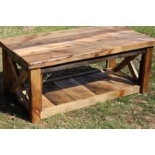 See Details - Barn Board Coffee Table with Shelf