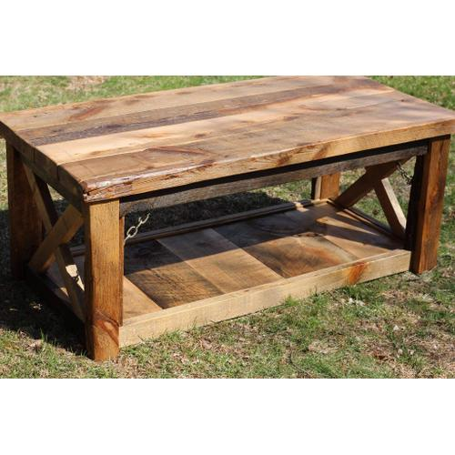 Barn Board Coffee Table with Shelf