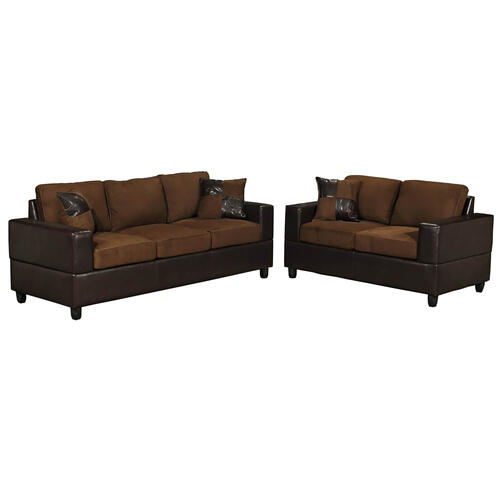 V-dub Furniture - 2 Piece Sofa & Love Seat Chocolate