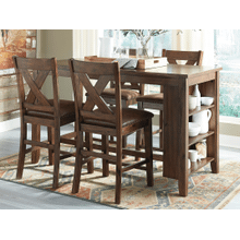 Chaleny Counter Height Dining Room Table with 4 Stools