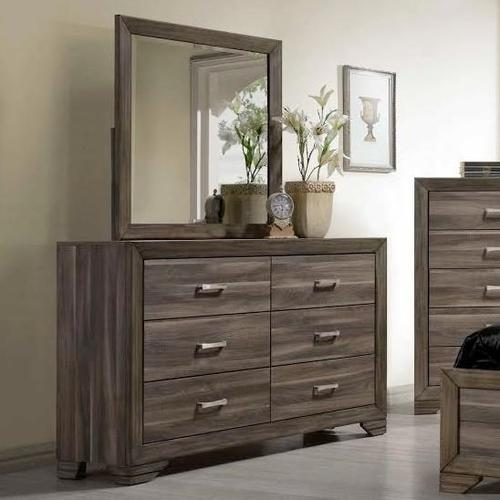 BERNARDS 1650 53-54-HFQ-RL Asheville 3-Piece Bedroom Group - Queen Panel Bed, Dresser & Mirror