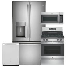 """See Details - GE 27.7 Cu. Ft. French-Door Refrigerator & 30"""" Free-Standing Gas Range 4 Pc Package- Open Box"""