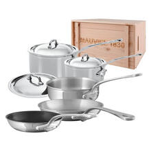 Mauviel M'Cook Stainless Steel Cookware Set, 8 Pieces, Cast Stainless Steel Handles, Wooden Crate