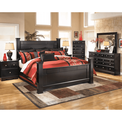 Shay- Almost Black- Dresser, Mirror, Chest, Nightstand & King Poster Bed