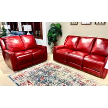 See Details - Leather Power Reclining Sofa & Loveseat in Alfresco Marsala