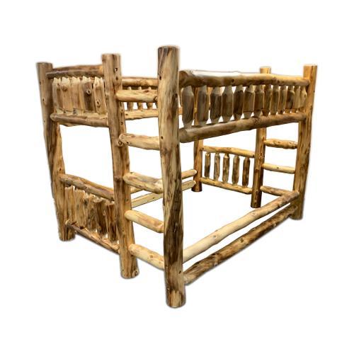 Queen / Queen Log Bunk Bed