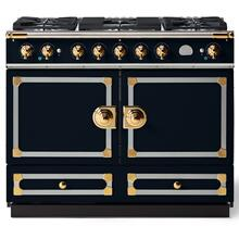 "La Cornue 43"" CornuFe 110 Dark Navy Blue With Polished Brass Dual Fuel Range"