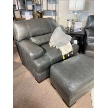 View Product - Stallion Dark Grey Leather Chair & Ottoman