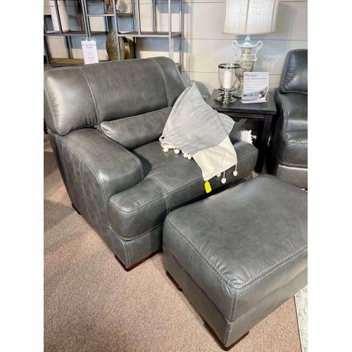 Simon Li Furniture - Stallion Dark Grey Leather Chair & Ottoman