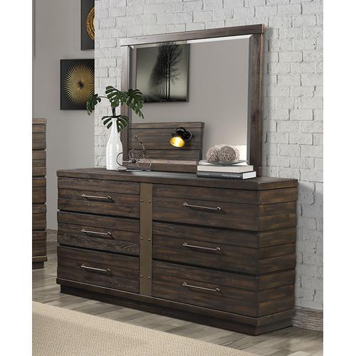 BERNARDS 1827-105HFQ 1827-105RL 1827-140 1827-130 Edison 3-Piece Bedroom Group - Queen Panel Bed, Dresser & Mirror