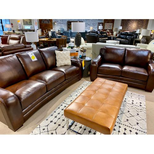 Pacific Chestnut Leather Sofa & Loveseat