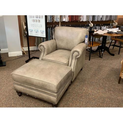 Leather Nailhead Trim Chair & Ottoman