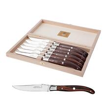 Claude Dozorme Shiny Stainless Steel 6-Piece Steak Knife Set with Rosewood Handle