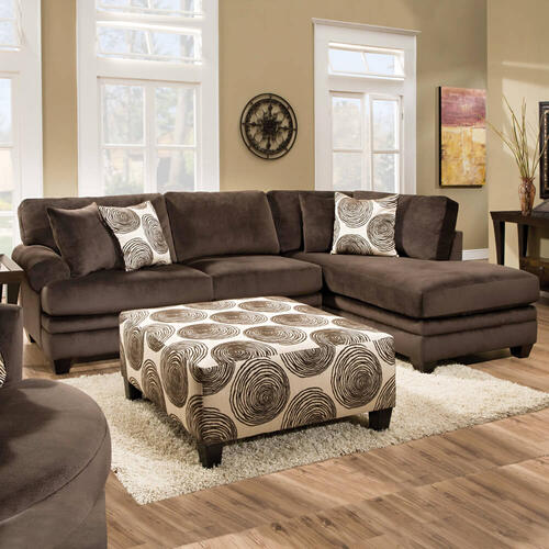 2 Piece Groovy Chocolate Sectional Sofa