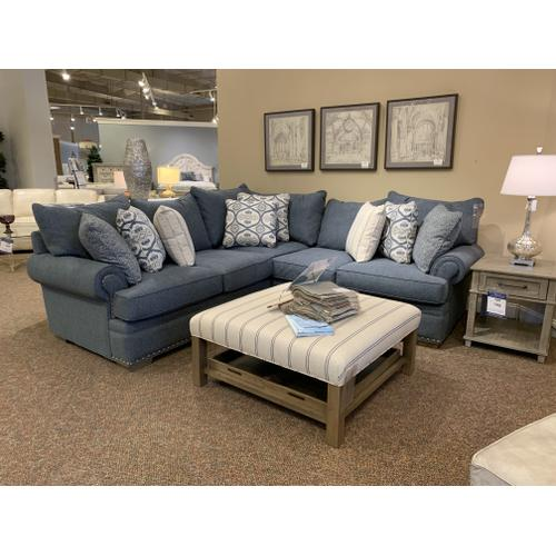 Blue Sectional with Nailhead Trim and Pillow Back