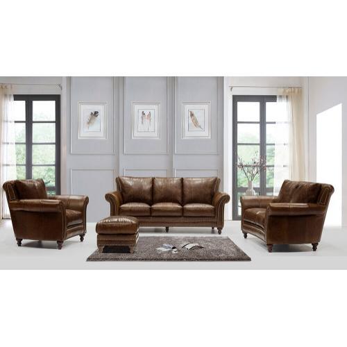 Leather Italia USA - 2239 Butler Ottoman Brown (100% Top Grain Leather)