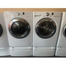 Refurbished White LG Front Load Washer Dryer Set On Pedestals. Please call store if you would like additional pictures. This set carries our 6 month warranty, MANUFACTURER WARRANTY AND REBATES ARE NOT VALID (Sold only as a set)