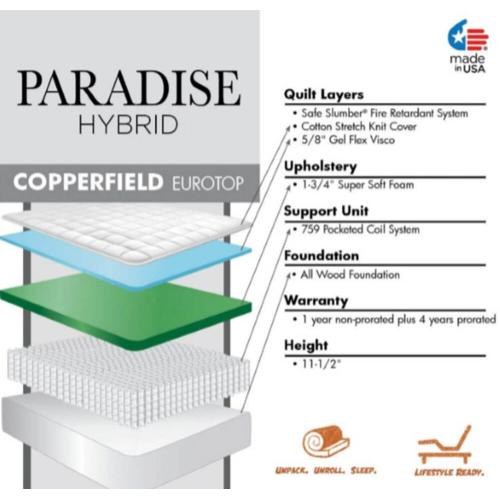 Paradise Hybrid Collection - Copperfield - Luxury Firm - Euro Top