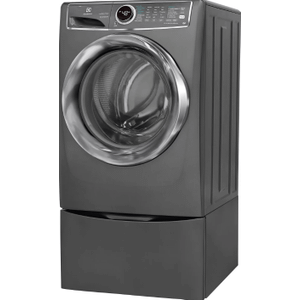 Electrolux 4.4CF Titanium Front Load Washer on Pedestal